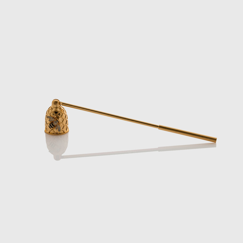Candle snuffer with stripey bee