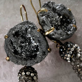 Druzy tassel earrings, dove grey
