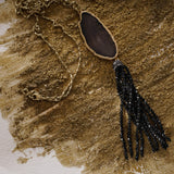 Black agate and tassel pendant necklace
