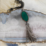 Emerald agate tassel pendant necklace