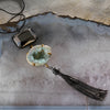 Verdigris druzy and hematite pendant necklace
