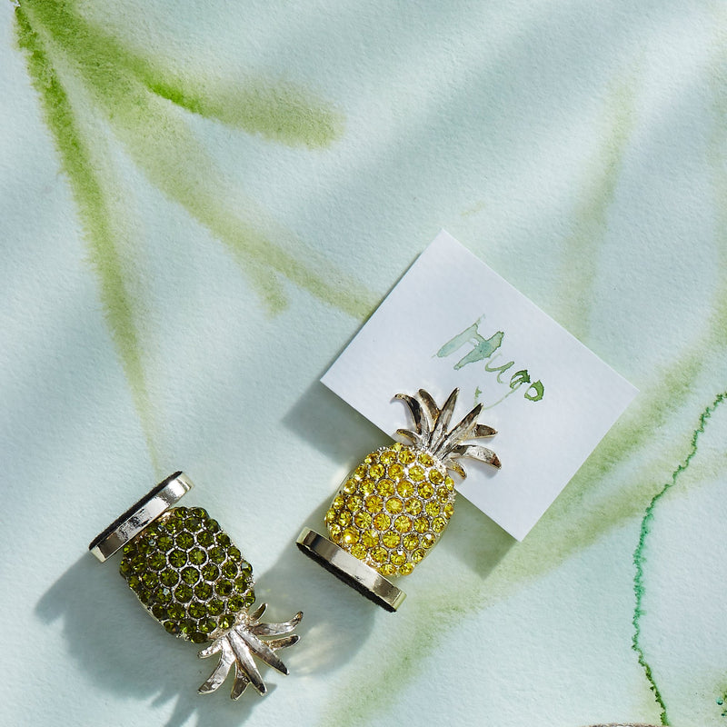 Pineapple placecard holders, olive, set of two