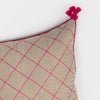Natural linen quilted tassel pillow, pink