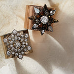 Neutral snowflake napkin rings, set of two