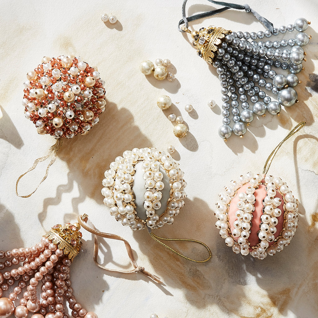 Pearl and velvet ball ornament, pale pink