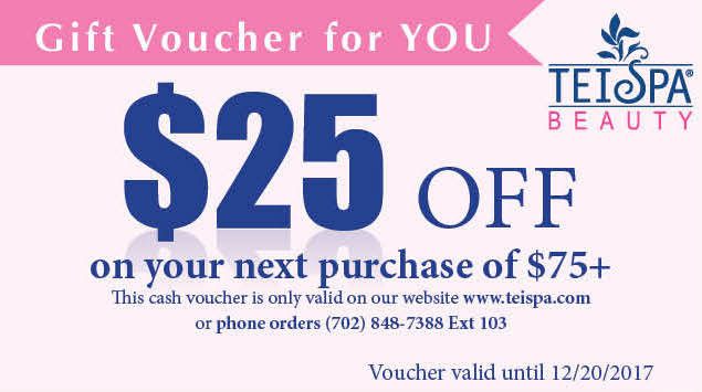 Register Your TEI Spa Beauty Product Today - Receive a $25 Gift Voucher - Thank you!