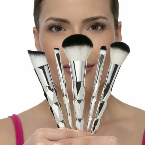 Diamond Makeup Brushes - 5 pc set in Pouch