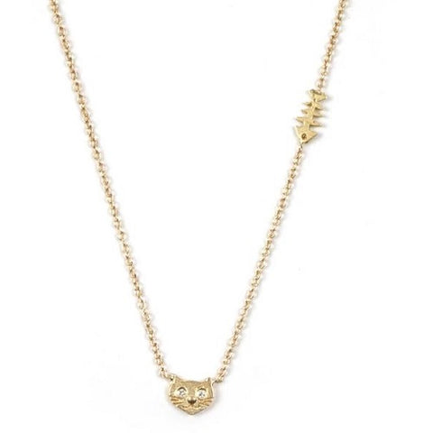 Cat & Fishbone Necklace