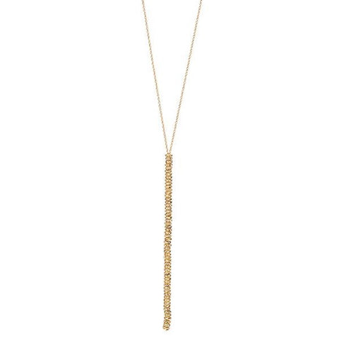 Gold Bead Long Drop Necklace