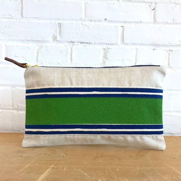 Erin Flett - Banded Clutch Green and Navy