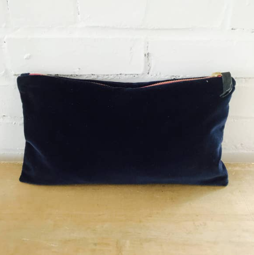 Erin Flett - Velvet Bag Navy with Pink Zipper