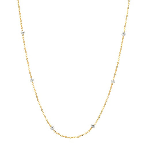 Simple Chain with Silver Beads Necklace