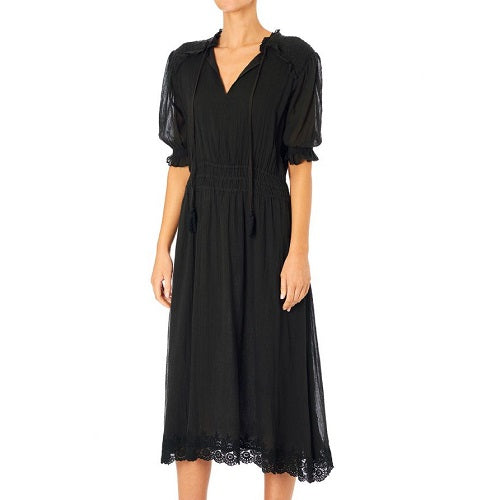 Ines Emb Midi Dress Black (More Options)