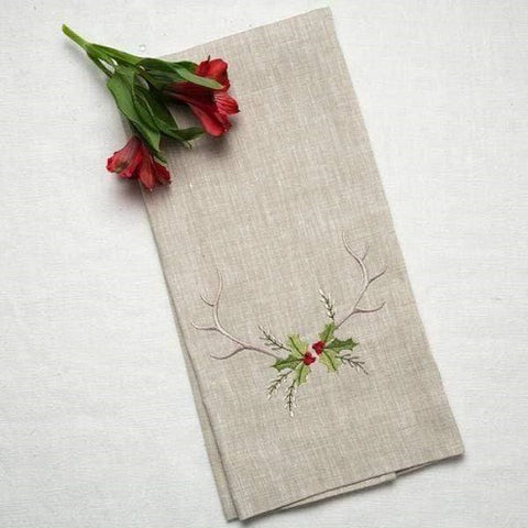 Antlers with Holly Linen Towel