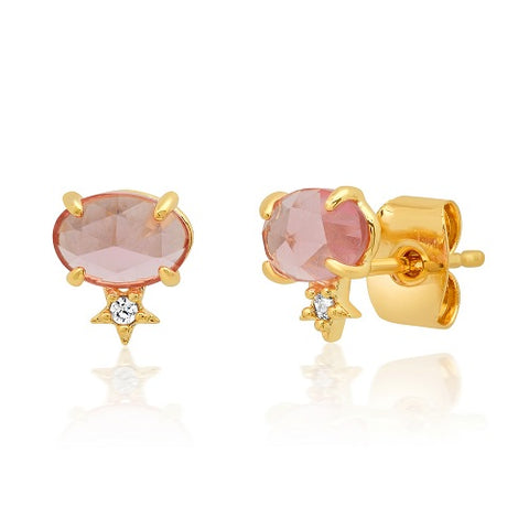 Pink Glass Oval Stud with Tiny Star