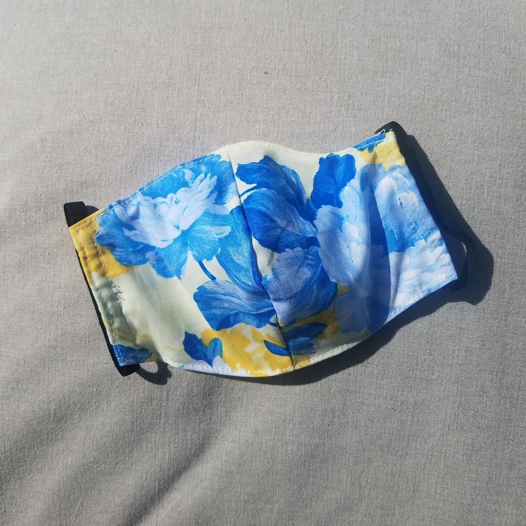 Kohala Plantation Face Mask - Blue & Yellow Floral