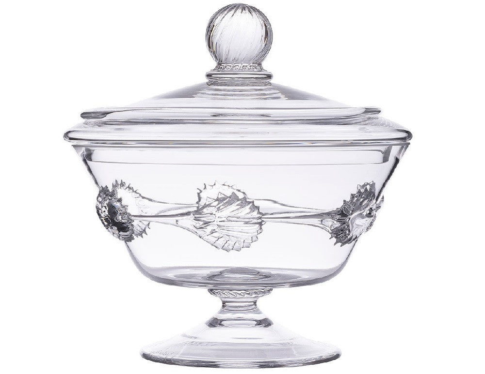Ines Lidded Compote Clear