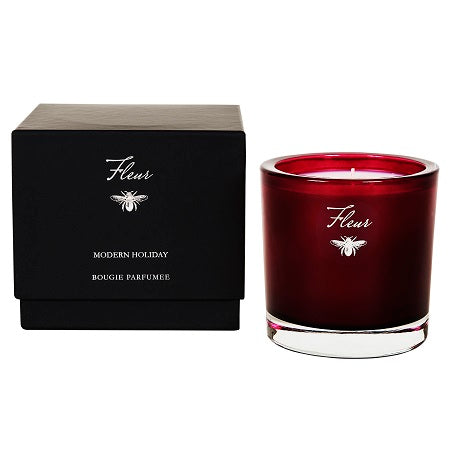 Fleur Red Modern Holiday Candle