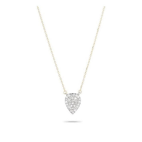 Solid Pavé Teardrop Necklace
