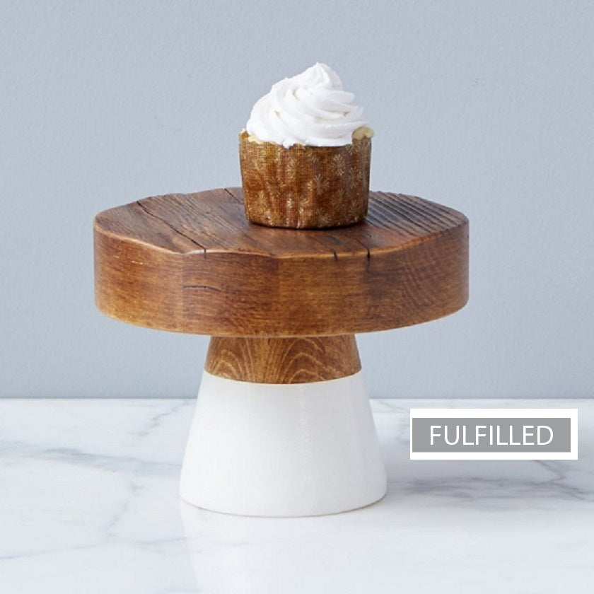 White Mod Block Cake Stand, Small