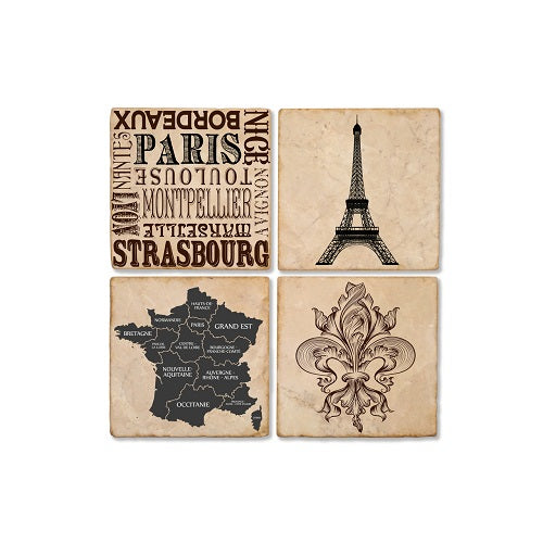 France Marble Coaster Set of 4