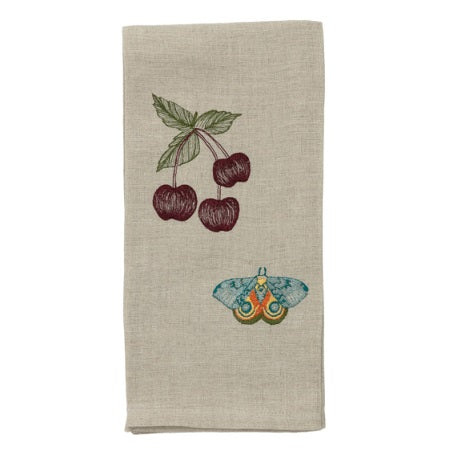 Cherries & Butterfly Tea Towel