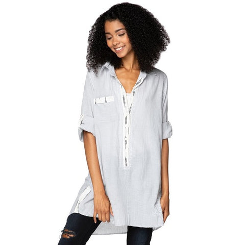 Boyfriend Shirt in Light Grey Chambray with Ikat Trim