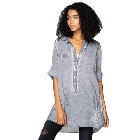 Boyfriend Shirt in Charcoal Chambray with Ikat Trim