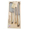 Laguiole Platine Cheese Set in Wood Box (Set of 3)
