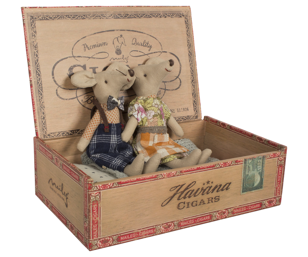 Mom and Dad Mouse in Cigar Box
