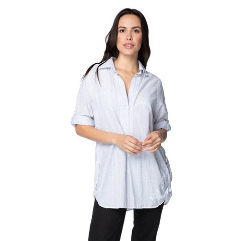 Boyfriend shirt in Cotton Shirting - Stripe w/Lurex