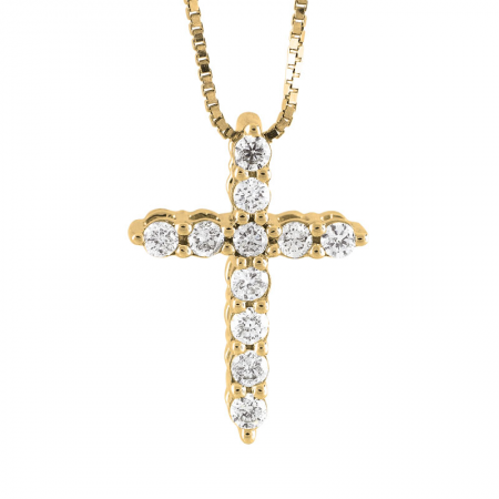 "Yellow Gold ""Extra Small"" Diamond Cross Necklace"