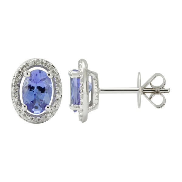 White Gold Oval Tanzanite & Diamond Earrings
