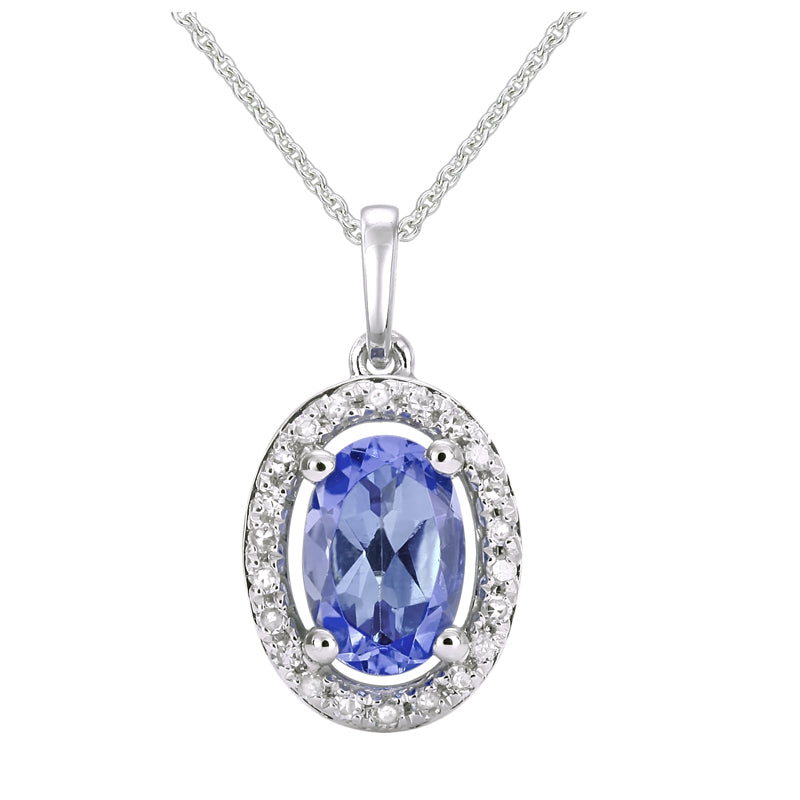 White Gold Oval Tanzanite & Diamond Necklace