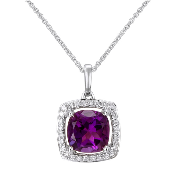 White Gold Amethyst & Diamond Necklace