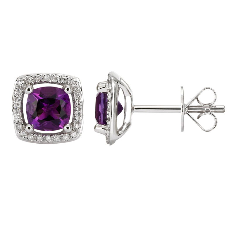 White Gold Amethyst & Diamond Earrings