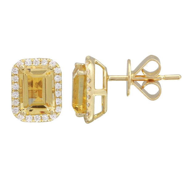Yellow Gold Citrine & Diamond Earrings