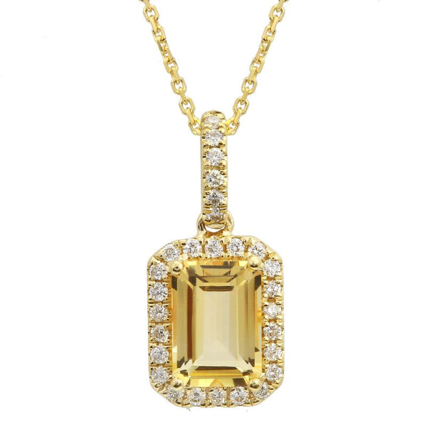 Yellow Gold Citrine & Diamond Necklace