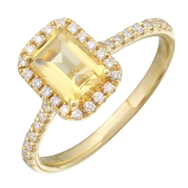 Yellow Gold Citrine & Diamond Ring