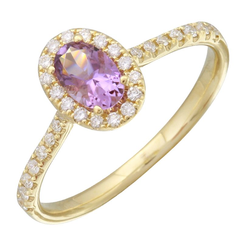 Yellow Gold Oval Amethyst & Diamond Ring