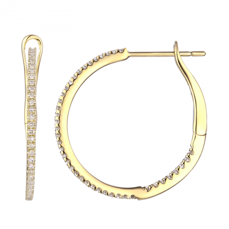 Yellow Gold Inside & Out Diamond Hoops