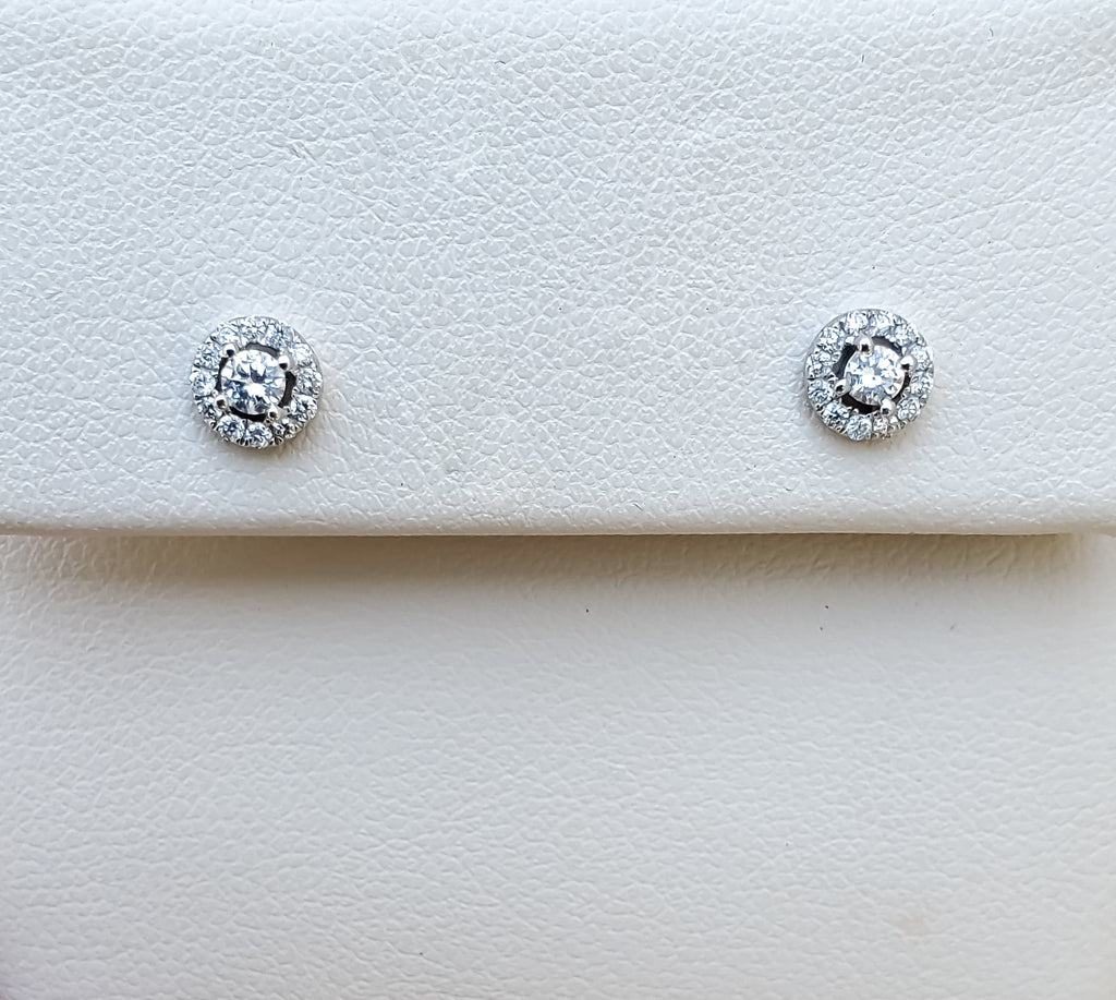 White Gold Diamond .33ct. tw Halo Earrings
