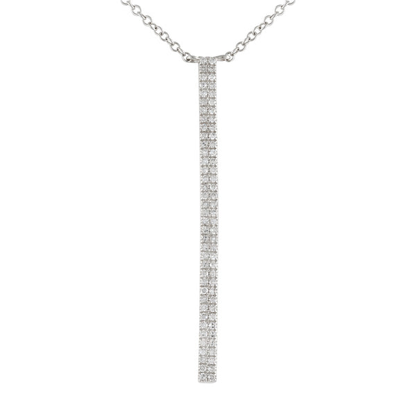White Gold Diamond Drop Bar Necklace