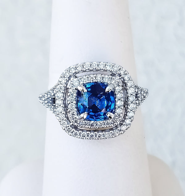 White Gold Double-Halo Sapphire & Diamond Ring