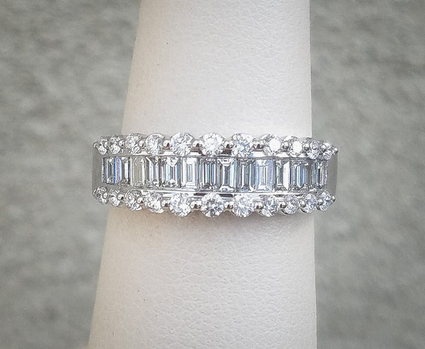 White Gold 1ct. Baguette Diamond Band