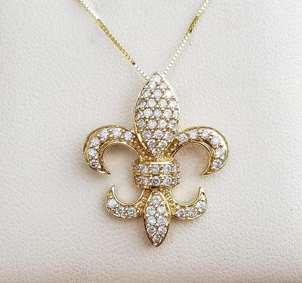 "Yellow Gold Diamond Medium ""Fleur De Lis"" Necklace"