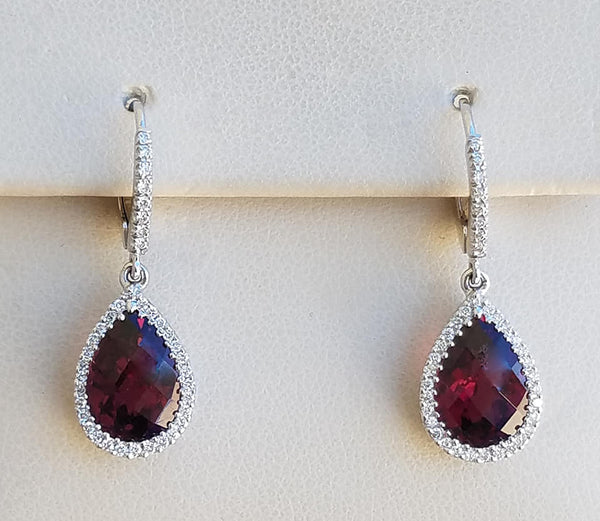 White Gold Rhodolite Garnet & Diamond Dangle Earrings