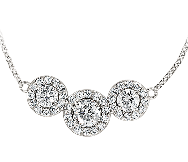 "White Gold Triple Diamond ""Halo"" Necklace"