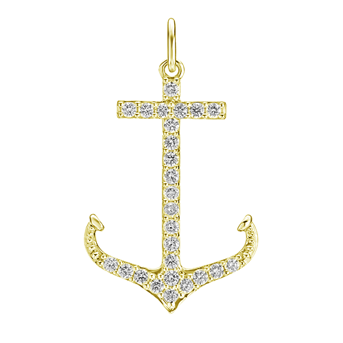 "Yellow gold ""Large"" Diamond Anchor Necklace"