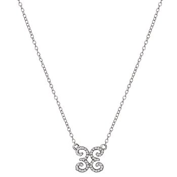 White Gold Petite Diamond Scroll Necklace